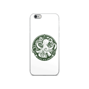 In GIT We Trust, green on white iPhone case