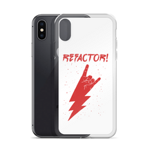 Refactor! red on white iPhone case