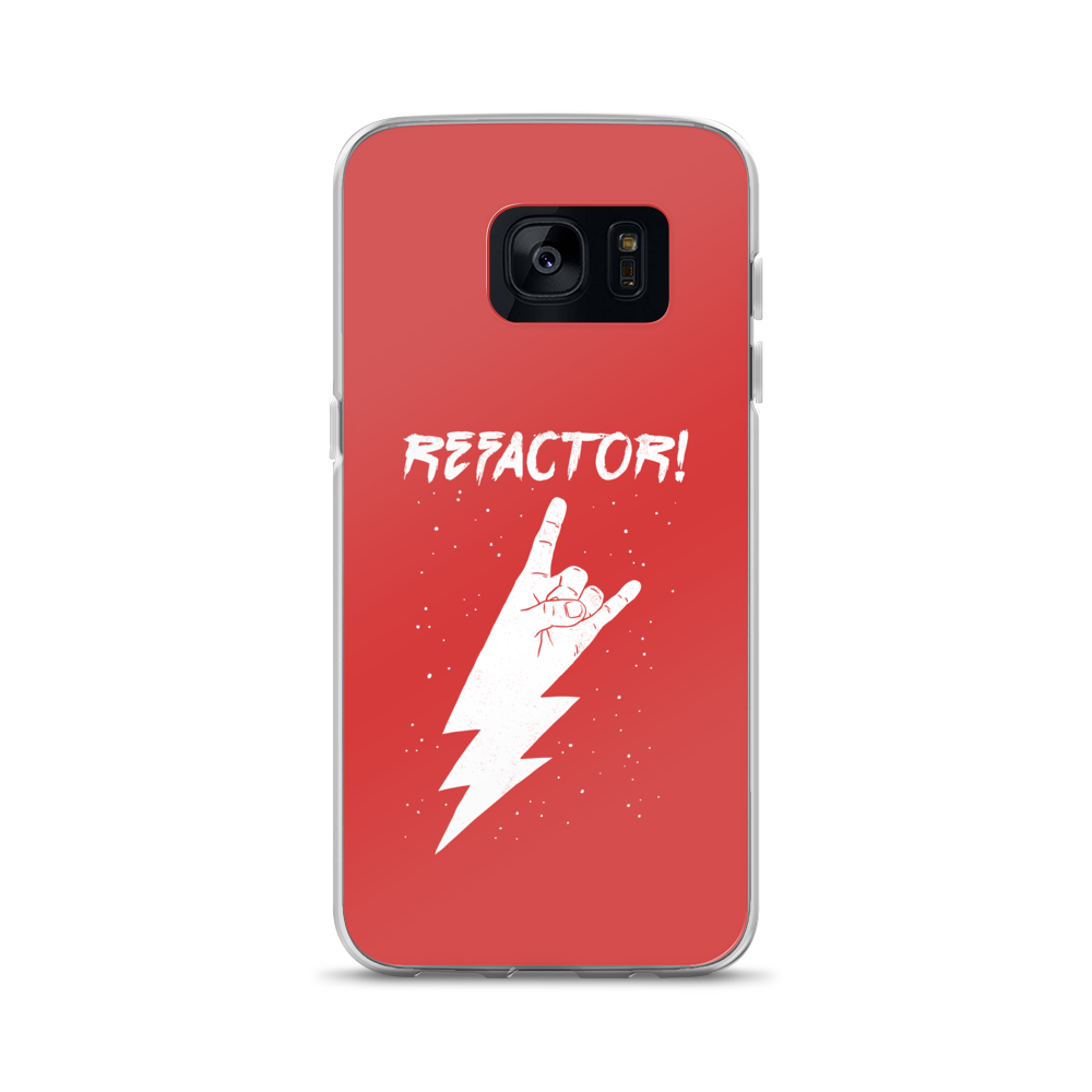 Refactor! white on red Samsung case