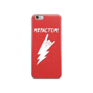 Refactor! white on red iPhone case