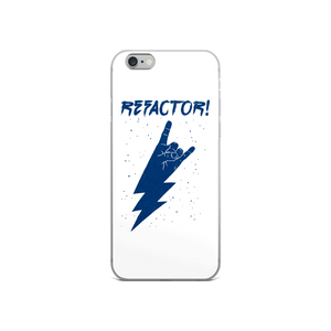 Refactor! blue on white iPhone case
