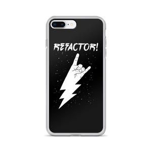 Refactor! white on black iPhone case