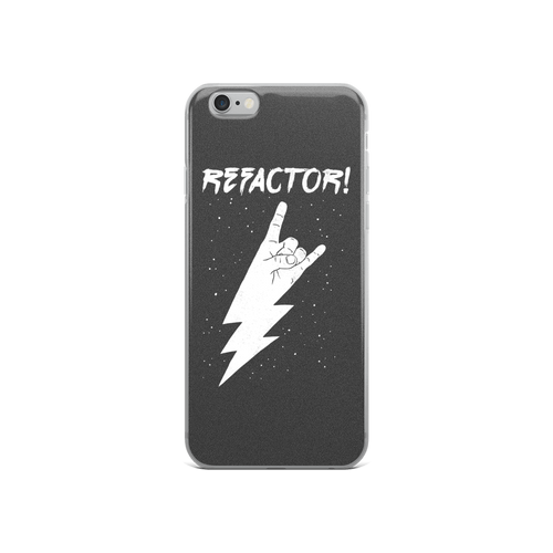 Refactor! white on grey iPhone case