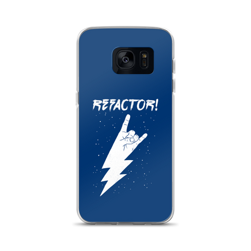 Refactor! white on blue Samsung case