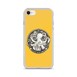 In GIT We Trust, grey on yellow iPhone case