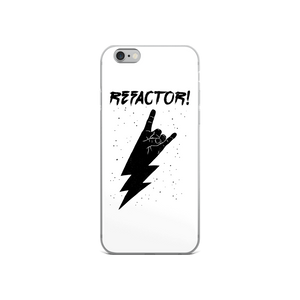 Refactor! black on white iPhone case