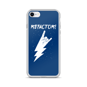 Refactor! white on blue iPhone case