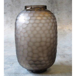 CARVED Glass Vase H34 - Clear Glass & Brown