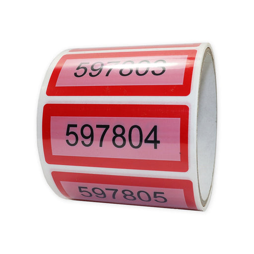 Red Permanent T/E Label 30mm x 70mm