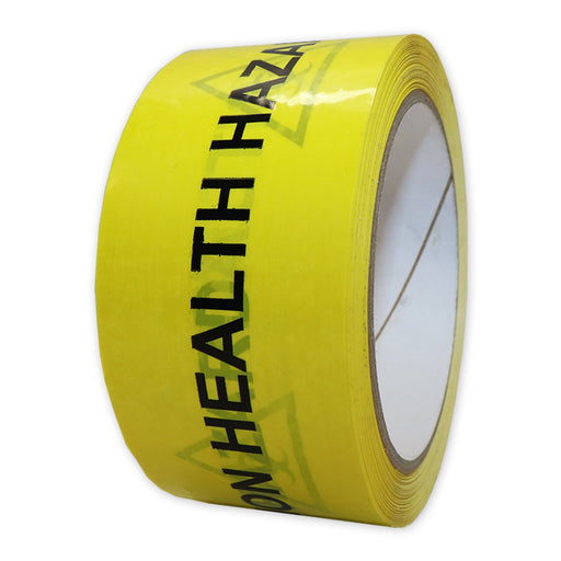 """Caution Health Hazard"" Tape 50mm x 66m"