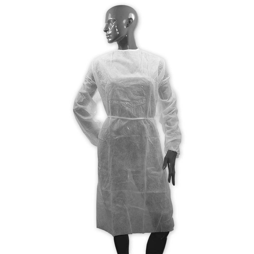 Examination Gown, White, Long Sleeves