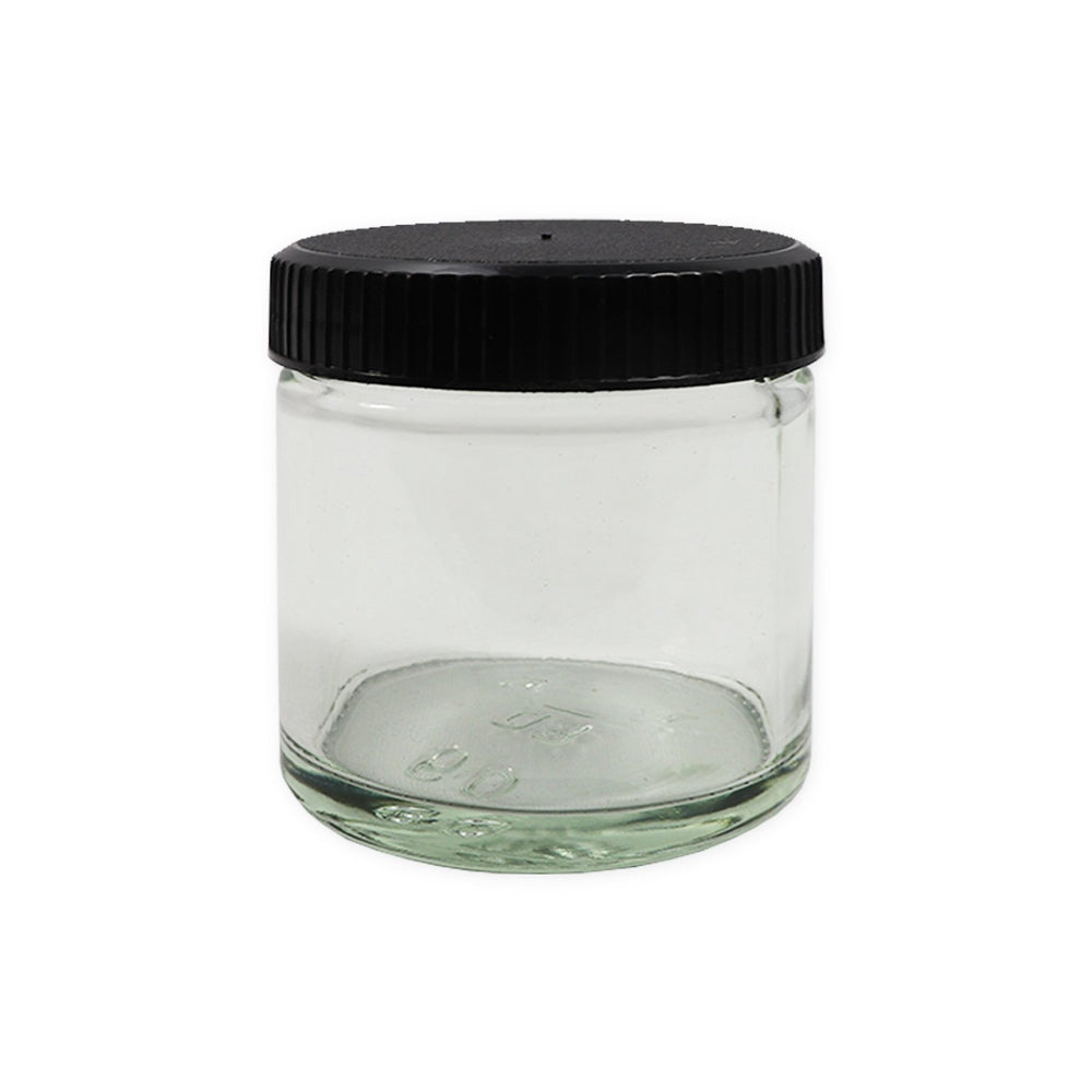 Glass Powder Pot 60ml With Plastic Cap