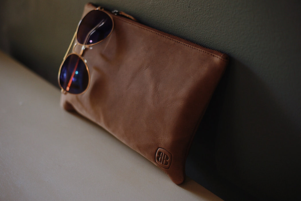 Better Brown Leather Clutch