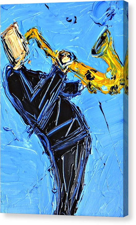 Blue And Yellow Sax  - Canvas Print