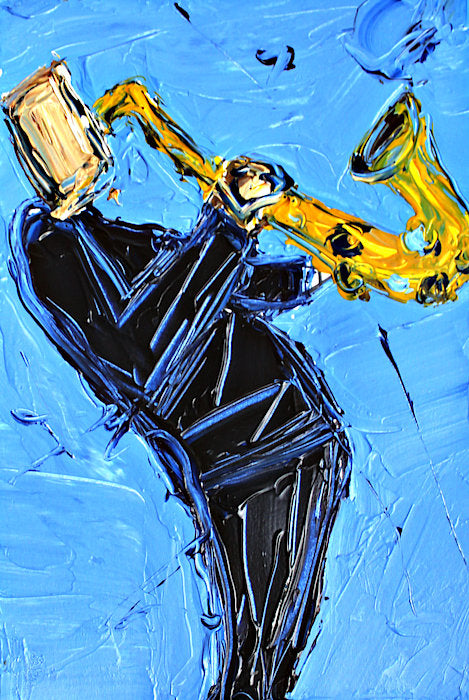 Blue And Yellow Sax  - Art Print