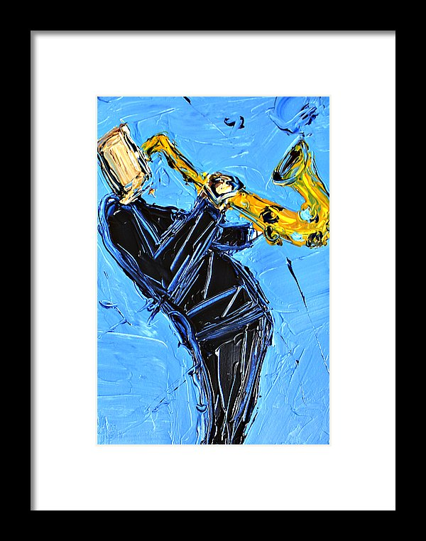 Blue And Yellow Sax  - Framed Print