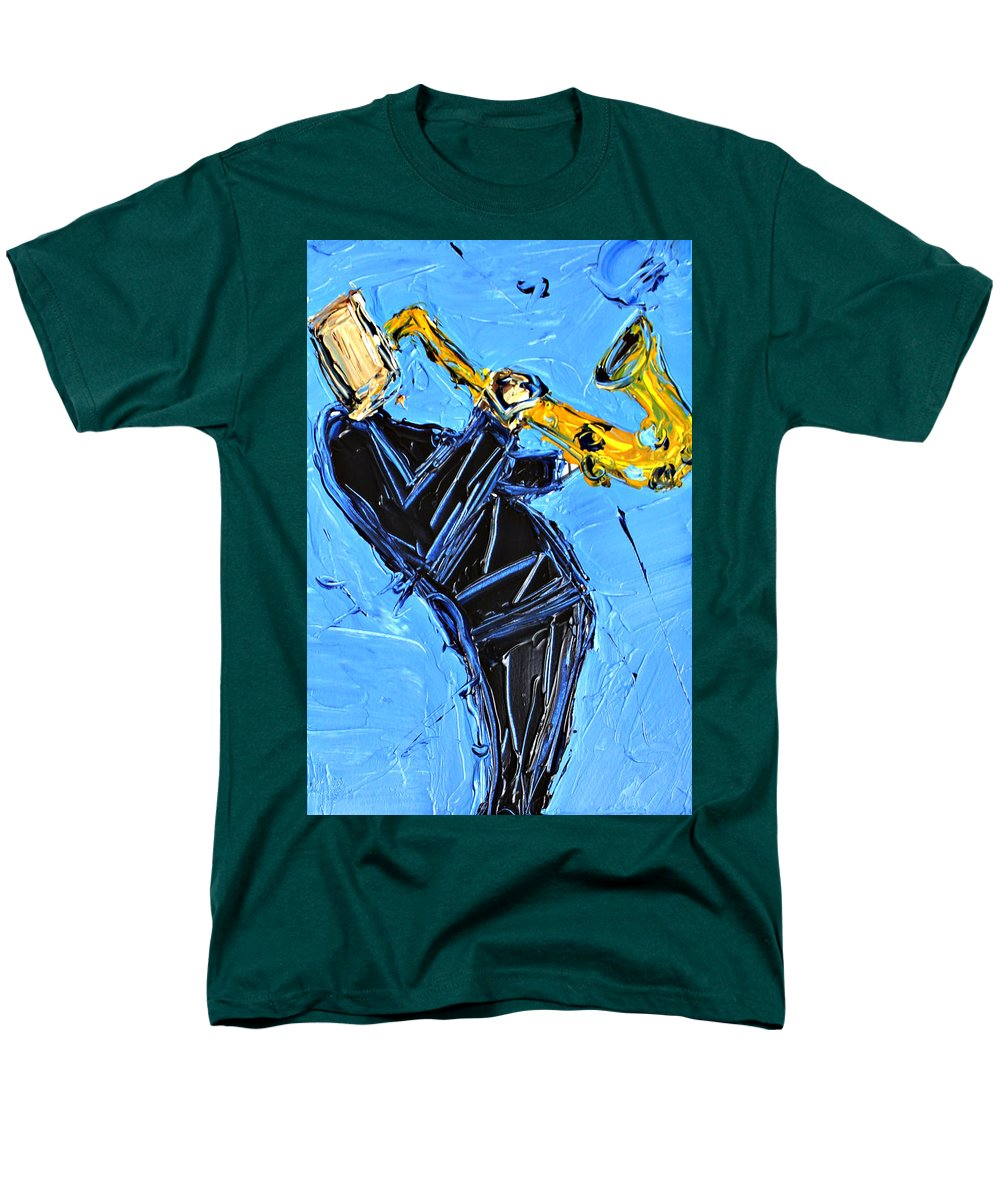 Blue And Yellow Sax  - Men's T-Shirt  (Regular Fit)