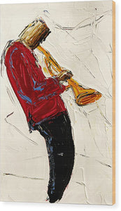 Saxophone Red  - Wood Print