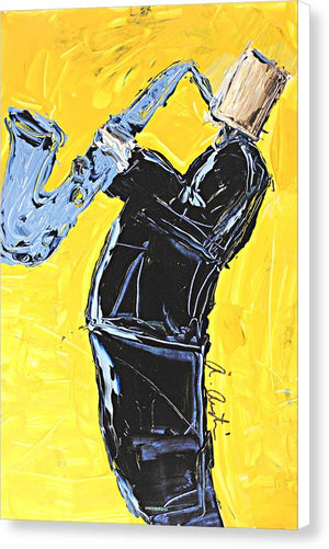 Yellow My Blue Sax - Canvas Print