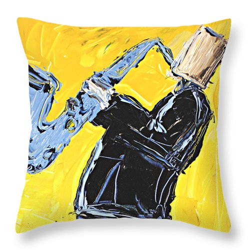 Yellow My Blue Sax - Throw Pillow