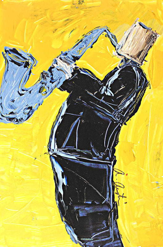 Yellow My Blue Sax - Art Print