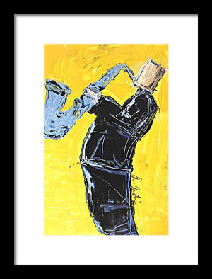 Yellow My Blue Sax - Framed Print