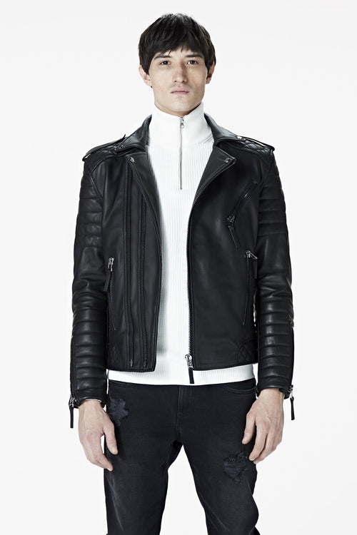 A male model wearing our Men's Black Leather Biker Jacket - Kay Michaels: biker protection from the BODA SKINS biker collection. Close up Front facing.