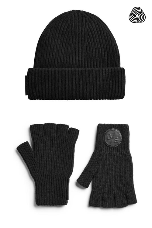 Merino Wool / Cashmere Seamless Beanie + Gloves Bundle