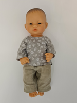 Load image into Gallery viewer, Miniland Doll - 12.63'', 32cm. Asian Boy Doll with Handmade Clothes.
