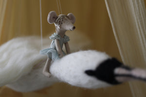Flying Swan Mobile with Maileg Swan Lake Mouse.