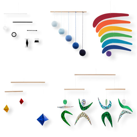 Set of 5 x montessori mobile - Munari, Blue Gobbi, Dancers, Octahedron, Rainbow for baby development. 5setblue