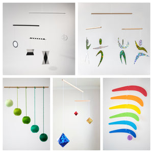 Set of 5 x montessori mobile - Munari, Green Gobbi, Dancers, Octahedron, Rainbow. Montessori mobile. Baby mobile. Hanging mobile.  5setgreen