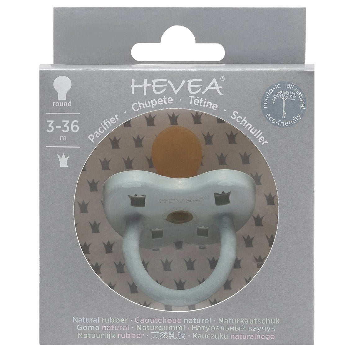 Hevea Pacifier, Gorgeous Grey, 3-36m