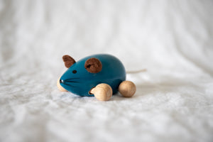 Blue Wooden Mouse