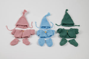 Hand Knitted set of clothes for a Miniland doll 21 cm