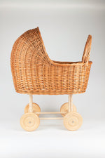 Load image into Gallery viewer, Wicker Baby Carriage, Wicker Doll Stroller, Wicker Doll Pram, Natural Doll Carriage, Wicker Willow Doll Stroller, Doll Stroller, Doll Pram