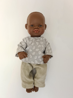 Load image into Gallery viewer, Miniland Doll - 12.63'', 32cm. African Boy Doll with Handmade Clothes.