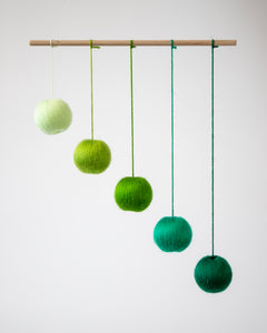 Green Gobbi mobile, Montessori mobile, Montessori toy, Baby toy, Crib toy, Hanging toy, Essential baby mobile, Classic baby toy. hanging mobile