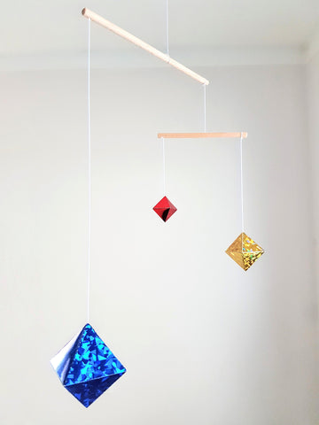 Holographic Octahedron mobile. Montessori inspired mobile. Baby mobile. Newborn toy. Baby toy. Early learning toy Hanging mobile