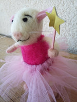 Load image into Gallery viewer, Fairie mouse. Fairy mouse. Felted mouse. Felt mouse. Birthday mouse. Gift mouse. Cute mouse toy. Mouse toy. Rat toy. Gift for a girl.