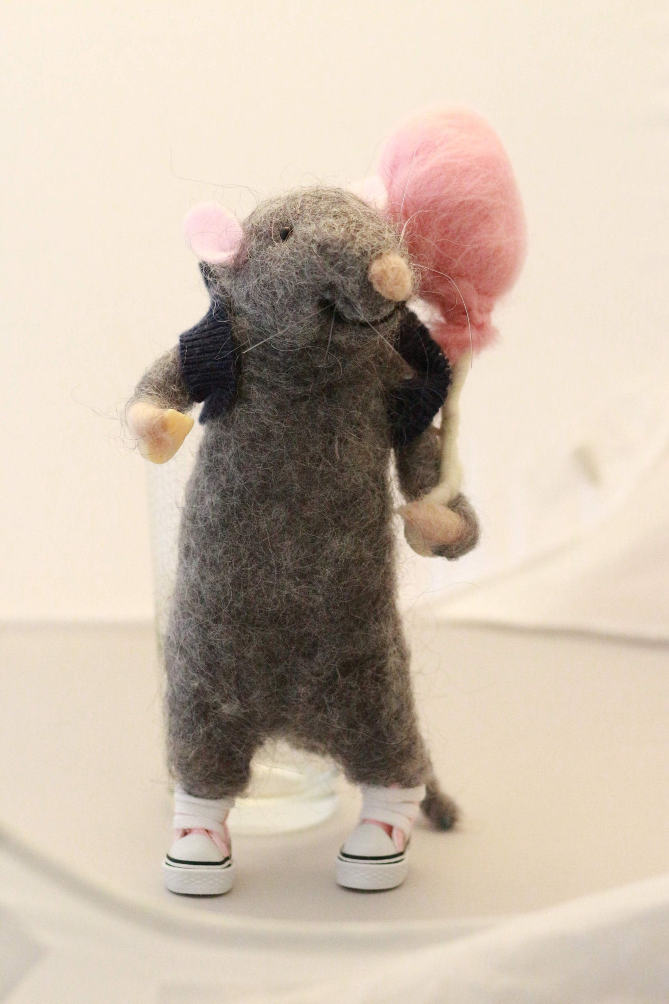 A gray mouse. Personalised mouse. Mouse miniature. Collectible mouse. Felted mouse. Mouse wearing sneakers. Mouse with s ballon. Felted rat.