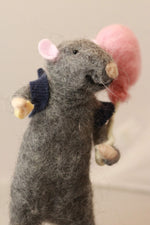 Load image into Gallery viewer, A gray mouse. Personalised mouse. Mouse miniature. Collectible mouse. Felted mouse. Mouse wearing sneakers. Mouse with s ballon. Felted rat.