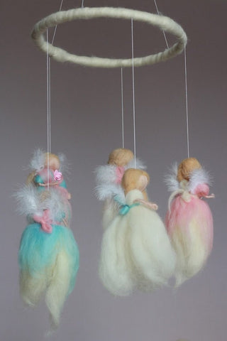Baby Mobile Angels, Nursery Mobile, Angels Hanging Decoration, Felted Bed Mobile, Angels Cot Mobile, Nursery Angel Mobile, Angel Guardian