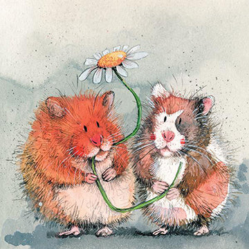 Ginger and Patch Hamster Card By Alex Clark