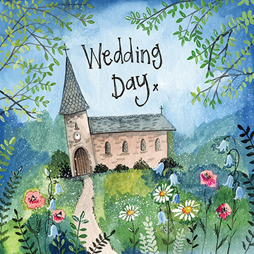 Church and Flowers Wedding Card By Alex Clark