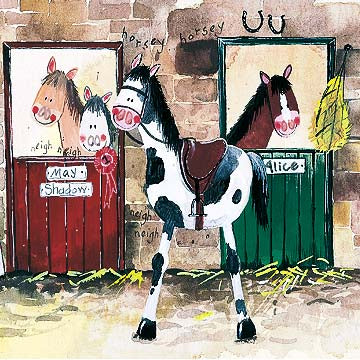 Alice's Stable Horse Card By Alex Clark