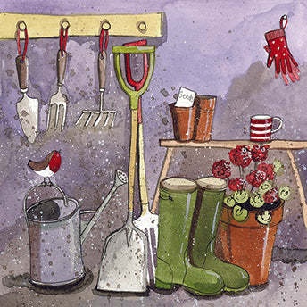 Gardeners Hut Card By Alex Clark