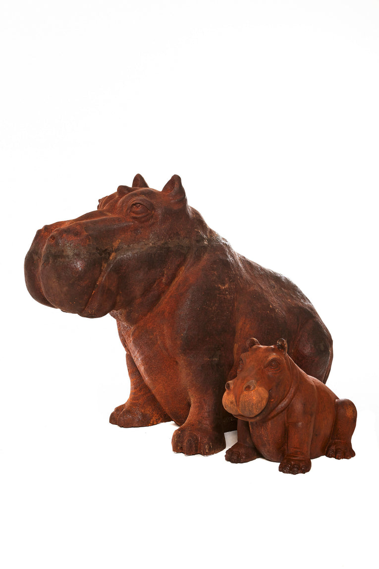 Baby and Mummy Hippo cast iron statues