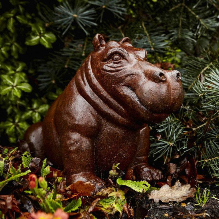 Baby Hippo made from Cast Iron sitting amoungst the conifers in the garden