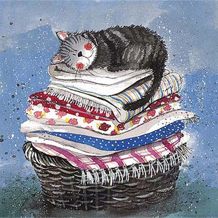 Laundry Basket Cat Sleeping Card By Alex Clark